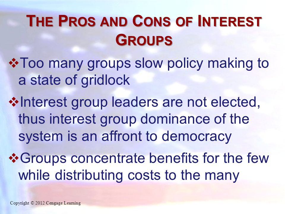 T HE P ROS AND C ONS OF I NTEREST G ROUPS  Too many groups slow policy making to a state of gridlock  Interest group leaders are not elected, thus i