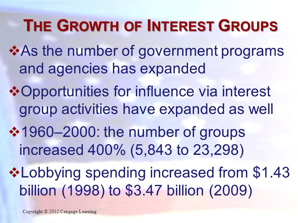 T HE G ROWTH OF I NTEREST G ROUPS  As the number of government programs and agencies has expanded  Opportunities for influence via interest group activities have expanded as well  1960–2000: the number of groups increased 400% (5,843 to 23,298)  Lobbying spending increased from $1.43 billion (1998) to $3.47 billion (2009) Copyright © 2012 Cengage Learning