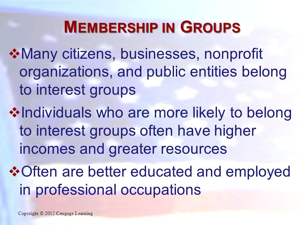 M EMBERSHIP IN G ROUPS  Many citizens, businesses, nonprofit organizations, and public entities belong to interest groups  Individuals who are more