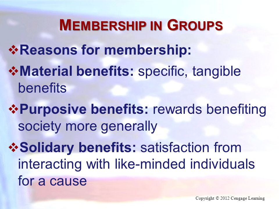 M EMBERSHIP IN G ROUPS  Reasons for membership:  Material benefits: specific, tangible benefits  Purposive benefits: rewards benefiting society more generally  Solidary benefits: satisfaction from interacting with like-minded individuals for a cause Copyright © 2012 Cengage Learning
