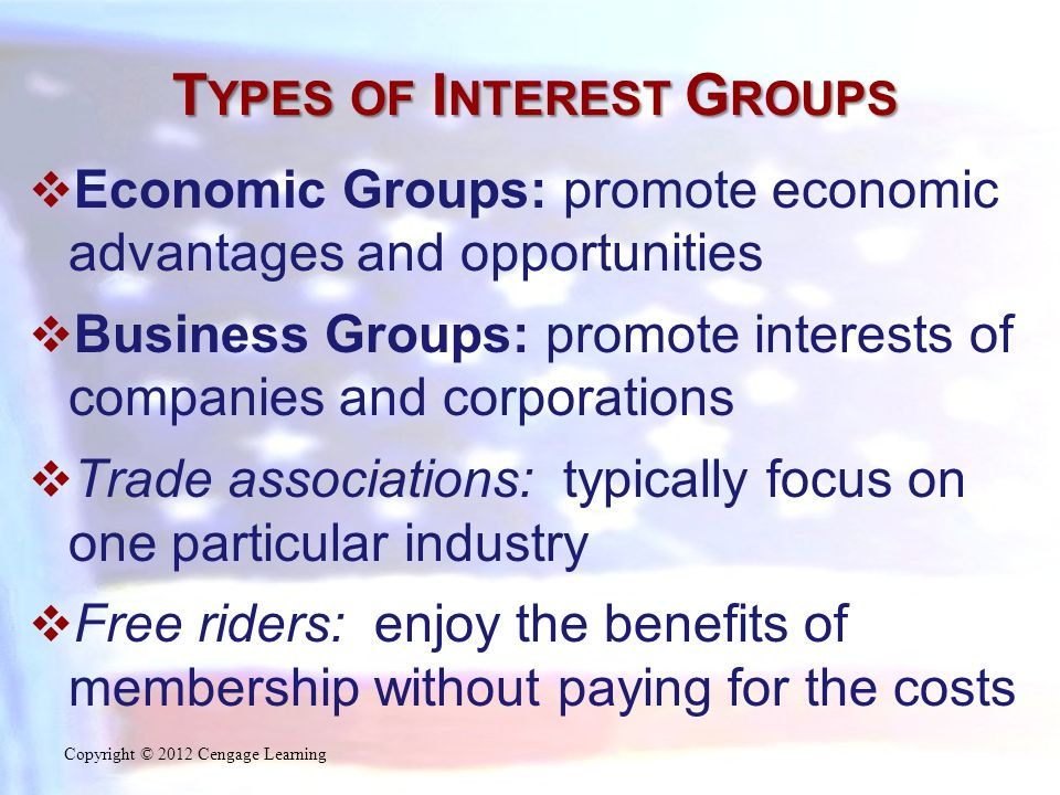 T YPES OF I NTEREST G ROUPS  Economic Groups: promote economic advantages and opportunities  Business Groups: promote interests of companies and corporations  Trade associations: typically focus on one particular industry  Free riders: enjoy the benefits of membership without paying for the costs Copyright © 2012 Cengage Learning