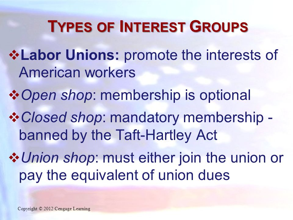 T YPES OF I NTEREST G ROUPS  Labor Unions: promote the interests of American workers  Open shop: membership is optional  Closed shop: mandatory mem