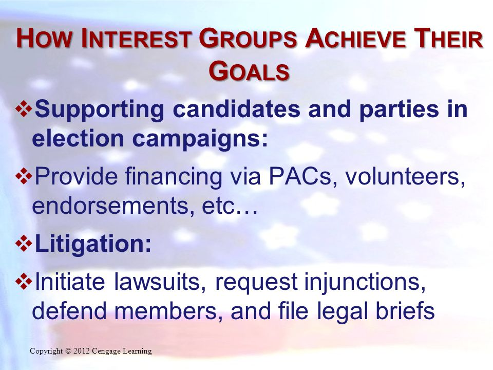 H OW I NTEREST G ROUPS A CHIEVE T HEIR G OALS  Supporting candidates and parties in election campaigns:  Provide financing via PACs, volunteers, endorsements, etc…  Litigation:  Initiate lawsuits, request injunctions, defend members, and file legal briefs Copyright © 2012 Cengage Learning