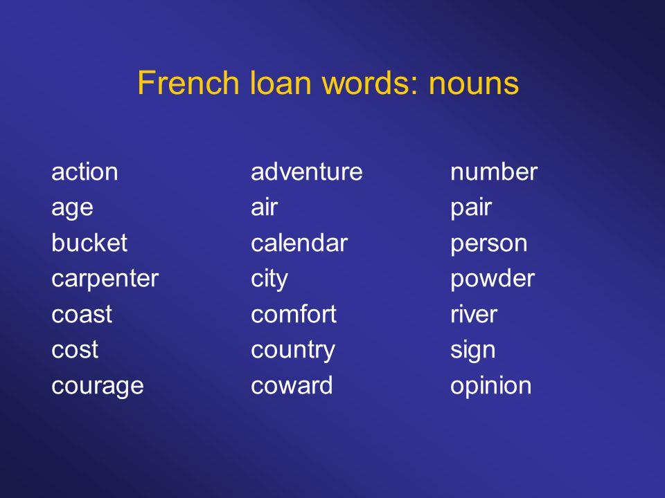 French loan words: nouns actionadventurenumber ageairpair bucketcalendarperson carpentercitypowder coastcomfortriver costcountrysign couragecowardopinion