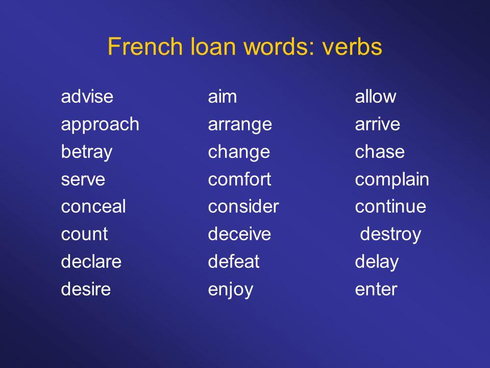French loan words: verbs adviseaimallow approacharrangearrive betraychangechase servecomfortcomplain concealconsidercontinue countdeceive destroy declaredefeatdelay desireenjoyenter