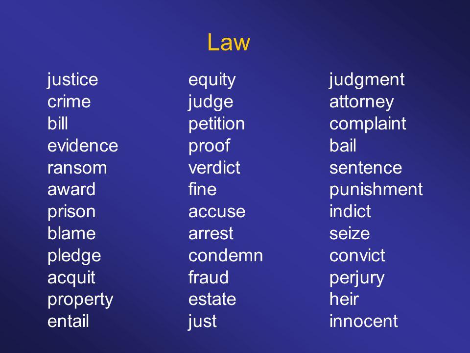 Law justiceequityjudgment crimejudgeattorney billpetitioncomplaint evidenceproofbail ransomverdictsentence awardfinepunishment prisonaccuseindict blamearrestseize pledgecondemnconvict acquitfraudperjury propertyestateheir entailjustinnocent