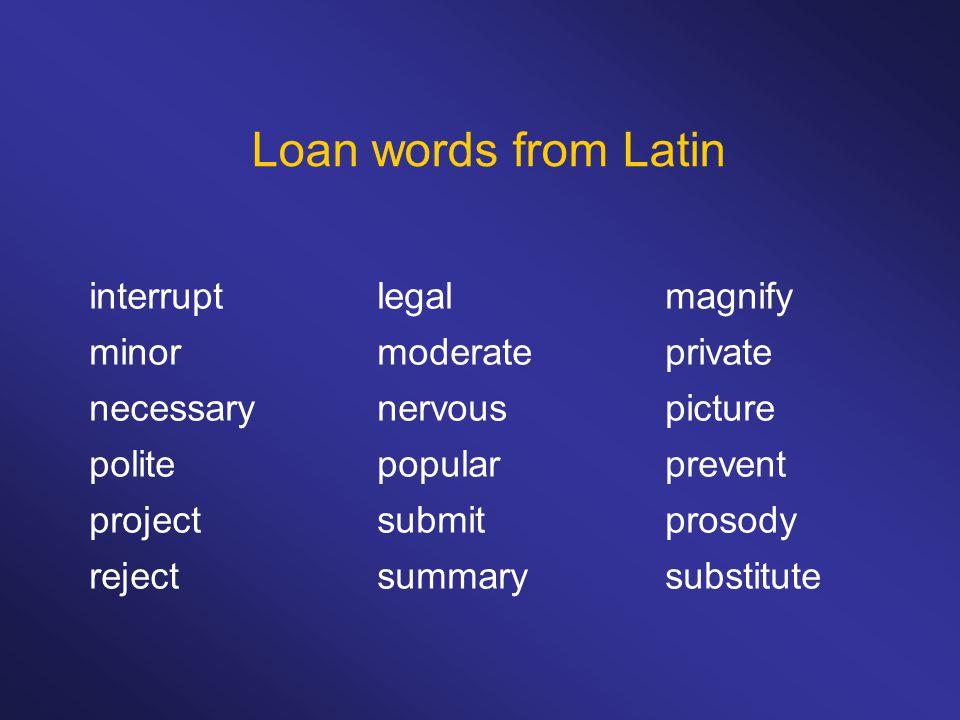 Loan words from Latin interruptlegalmagnify minormoderateprivate necessarynervouspicture politepopularprevent projectsubmitprosody rejectsummarysubstitute