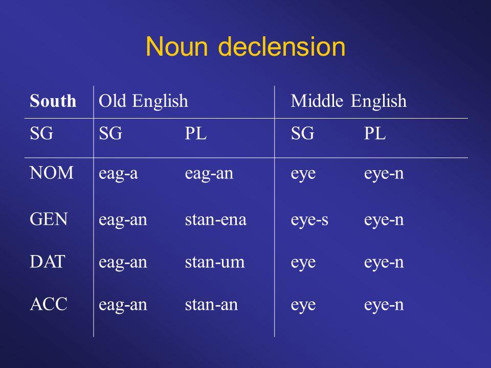 Noun declension SouthOld EnglishMiddle English SG PLSGPL NOMeag-aeag-aneyeeye-n GENeag-anstan-enaeye-seye-n DATeag-anstan-umeyeeye-n ACCeag-anstan-aneyeeye-n