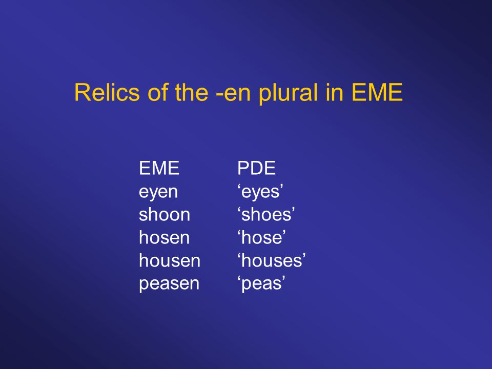 Relics of the -en plural in EME EMEPDE eyen'eyes' shoon'shoes' hosen'hose' housen'houses' peasen'peas'