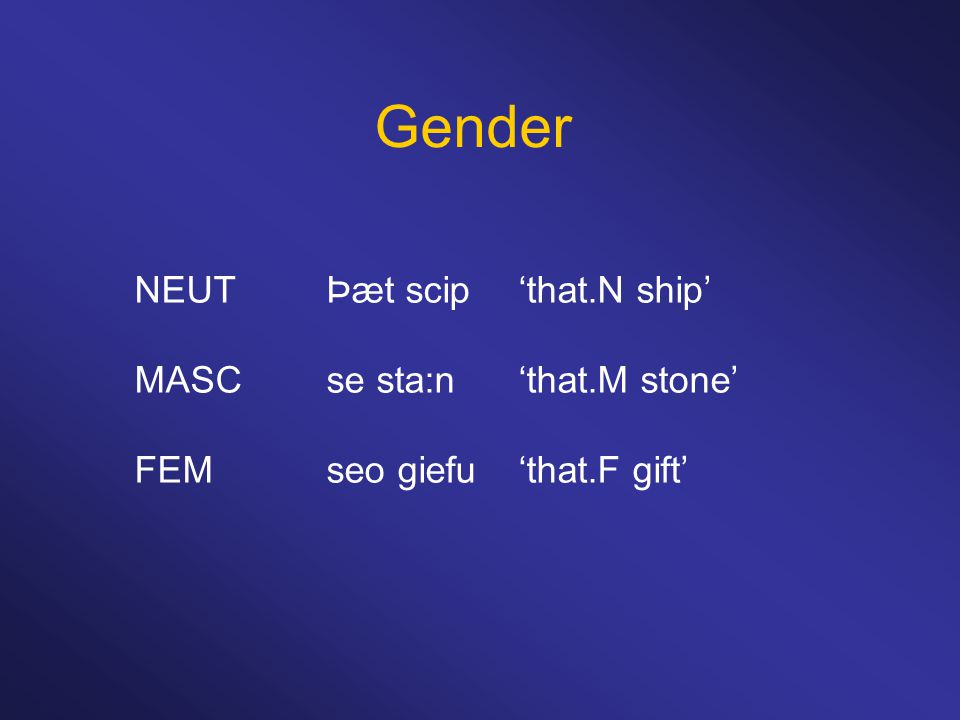 Gender NEUTÞæt scip'that.N ship' MASCse sta:n'that.M stone' FEMseo giefu'that.F gift'