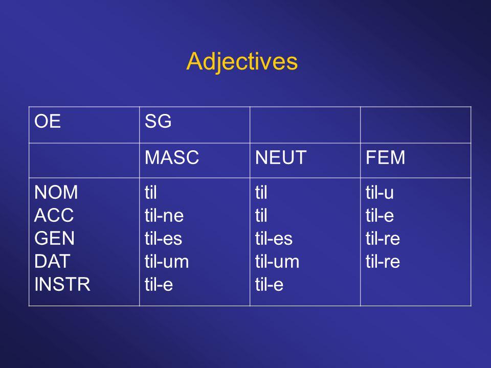 Adjectives OESG MASCNEUTFEM NOM ACC GEN DAT INSTR til til-ne til-es til-um til-e til til-es til-um til-e til-u til-e til-re