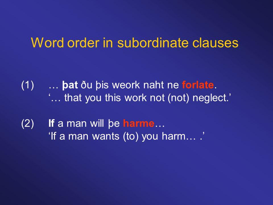 Word order in subordinate clauses (1)… þat ðu þis weork naht ne forlate.