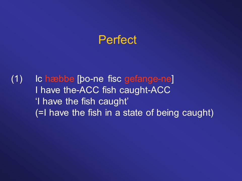 Perfect (1)Ic hæbbe [þo-nefisc gefange-ne] I have the-ACC fish caught-ACC 'I have the fish caught' (=I have the fish in a state of being caught)