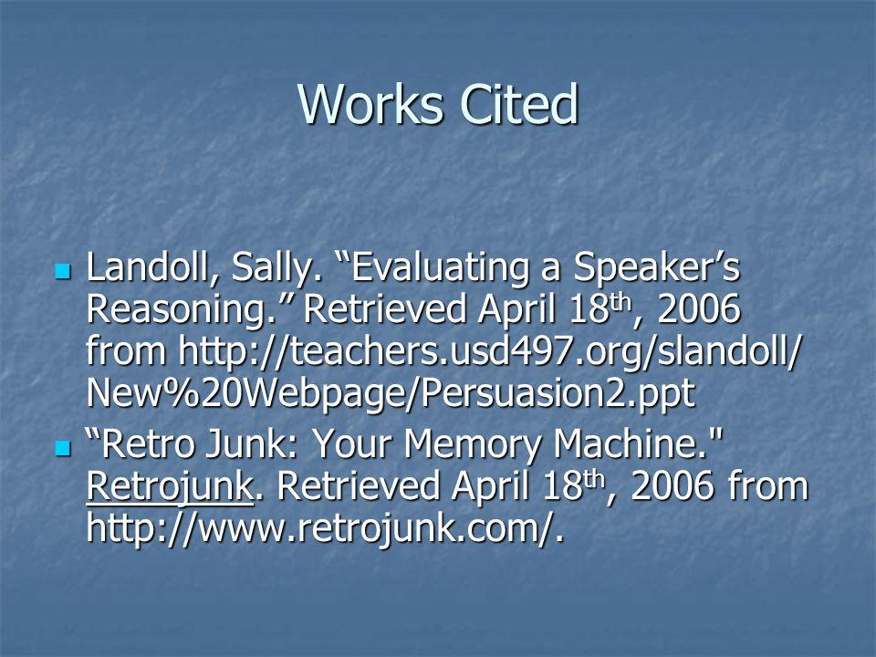 Works Cited Landoll, Sally.