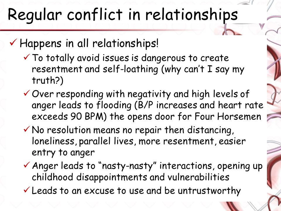 Regular conflict in relationships Happens in all relationships.