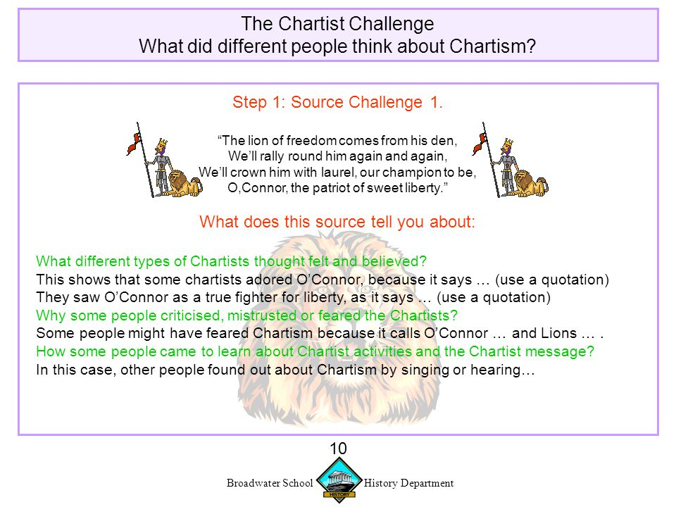 Broadwater School History Department 10 The Chartist Challenge What did different people think about Chartism.