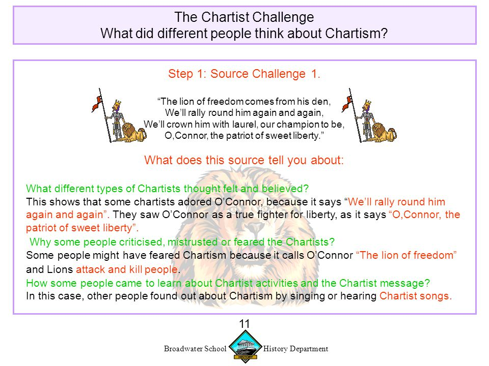 Broadwater School History Department 11 The Chartist Challenge What did different people think about Chartism.