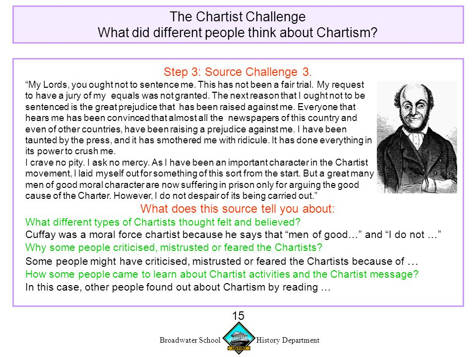 Broadwater School History Department 15 The Chartist Challenge What did different people think about Chartism.