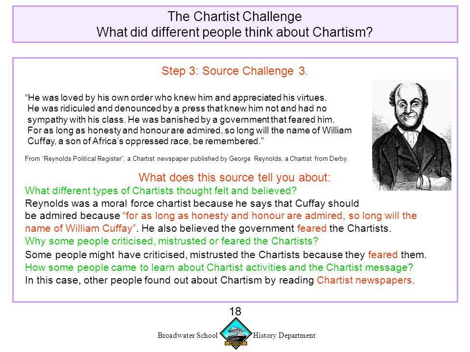 Broadwater School History Department 18 The Chartist Challenge What did different people think about Chartism.