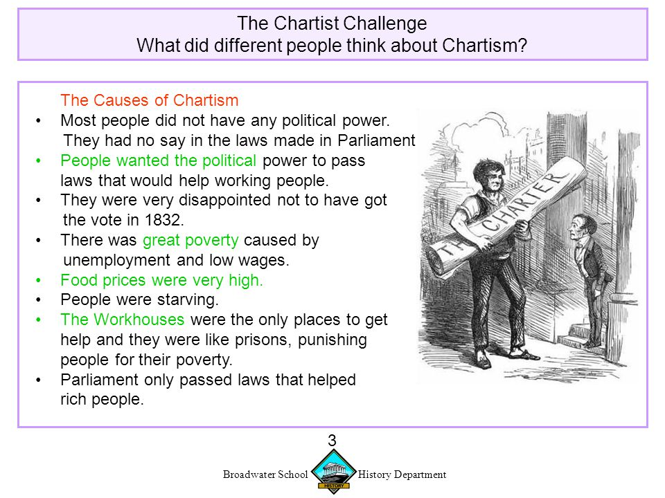 Broadwater School History Department 3 The Chartist Challenge What did different people think about Chartism.