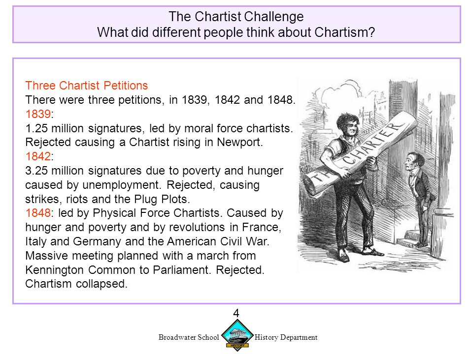 Broadwater School History Department 5 The Chartist Challenge What did different people think about Chartism.