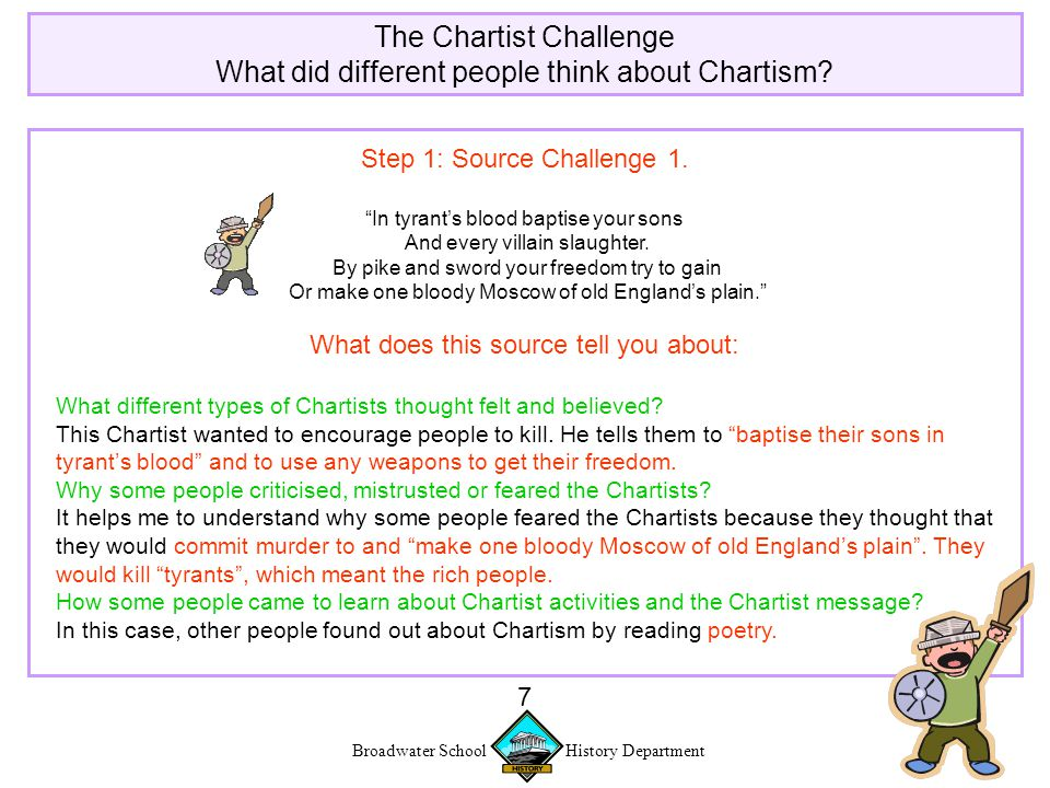 Broadwater School History Department 7 The Chartist Challenge What did different people think about Chartism.