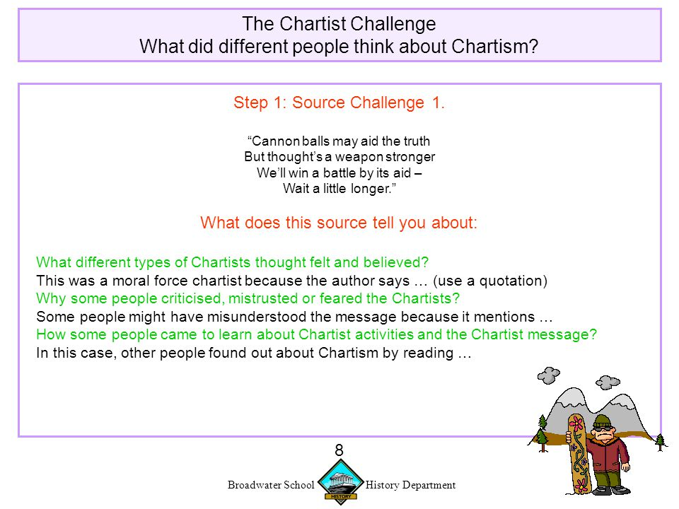 Broadwater School History Department 8 The Chartist Challenge What did different people think about Chartism.