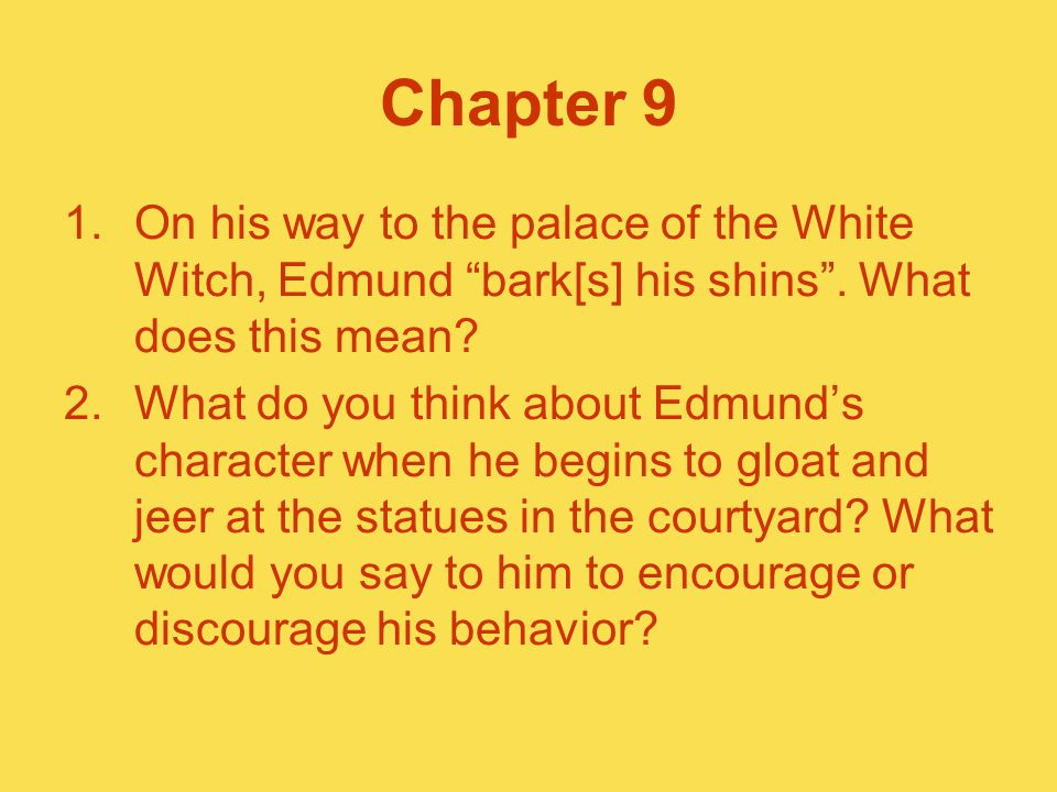 "Chapter 9 1.On his way to the palace of the White Witch, Edmund ""bark[s] his shins"". What does this mean? 2.What do you think about Edmund's character"
