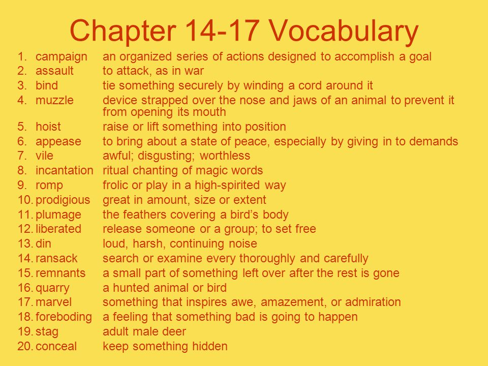 Chapter 14-17 Vocabulary 1.campaignan organized series of actions designed to accomplish a goal 2.assaultto attack, as in war 3.bindtie something secu