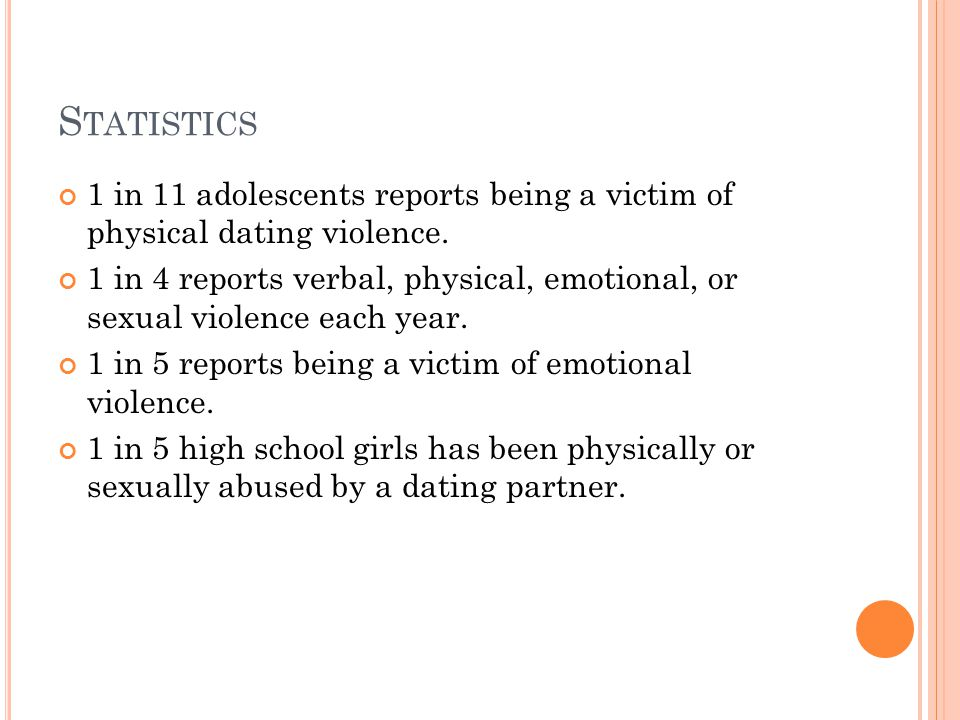 S TATISTICS 1 in 11 adolescents reports being a victim of physical dating violence.