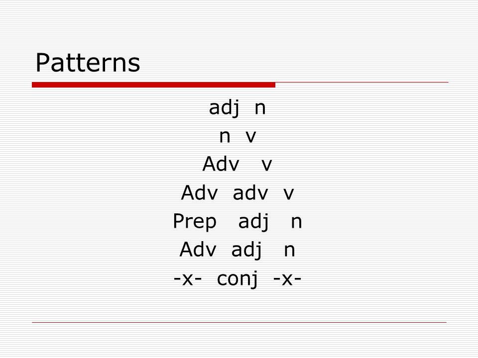 Patterns adj n n v Adv v Adv adv v Prep adj n Adv adj n -x- conj -x-