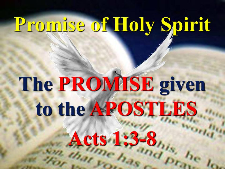 Promise of Holy Spirit The PROMISE given to the APOSTLES Acts 1:3-8