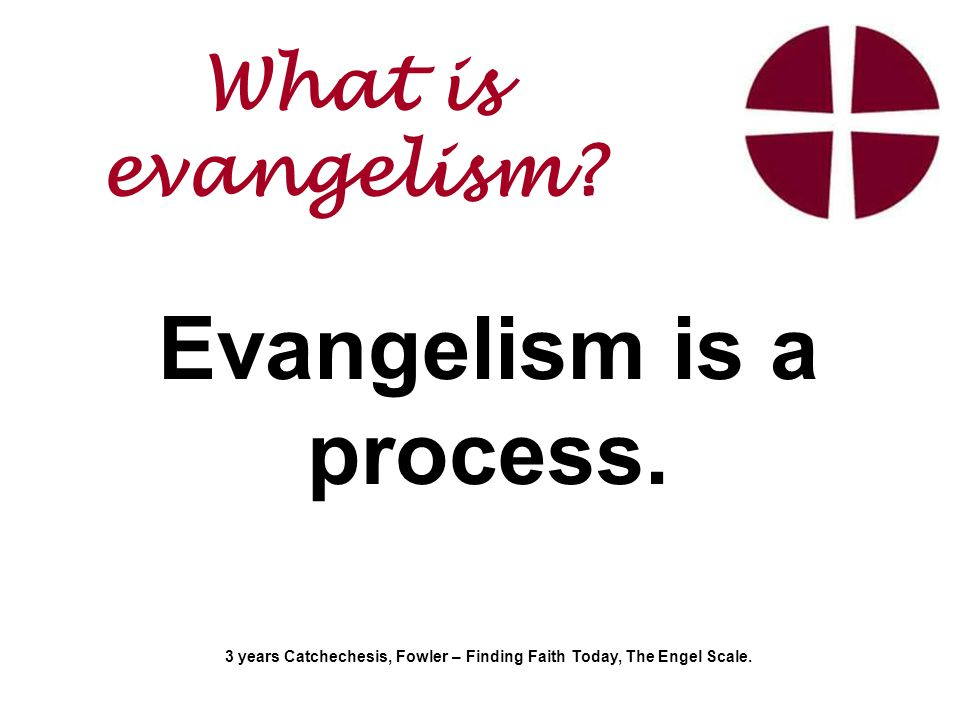 Evangelism is a process. 3 years Catchechesis, Fowler – Finding Faith Today, The Engel Scale.