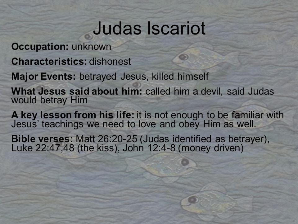 Judas Iscariot Occupation: unknown Characteristics: dishonest Major Events: betrayed Jesus, killed himself What Jesus said about him: called him a dev
