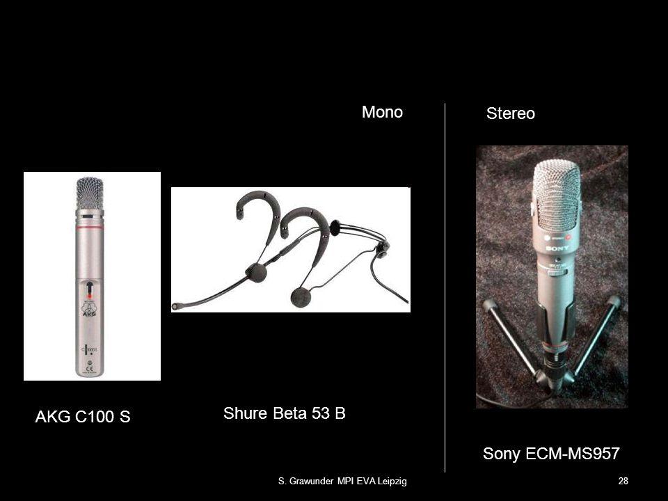 S. Grawunder MPI EVA Leipzig28 AKG C100 S Sony ECM-MS957 Stereo Mono Shure Beta 53 B