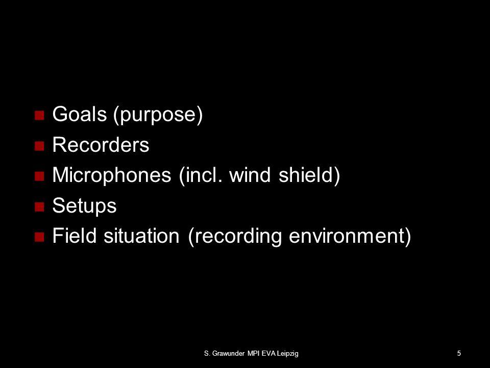 S.Grawunder MPI EVA Leipzig5 Goals (purpose) Recorders Microphones (incl.