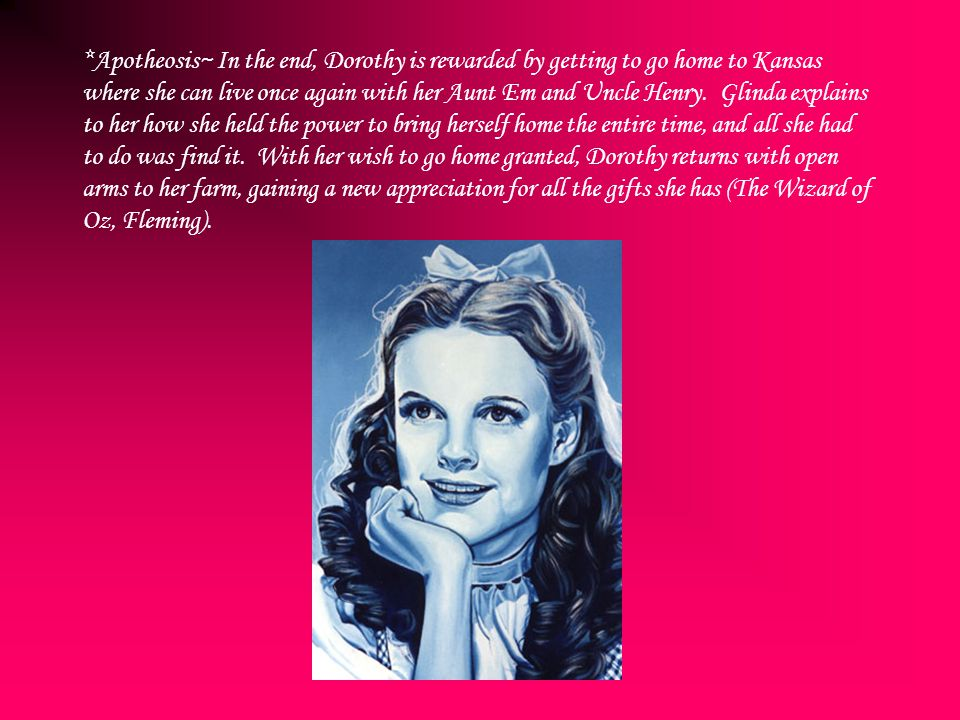 *Apotheosis~ In the end, Dorothy is rewarded by getting to go home to Kansas where she can live once again with her Aunt Em and Uncle Henry. Glinda ex