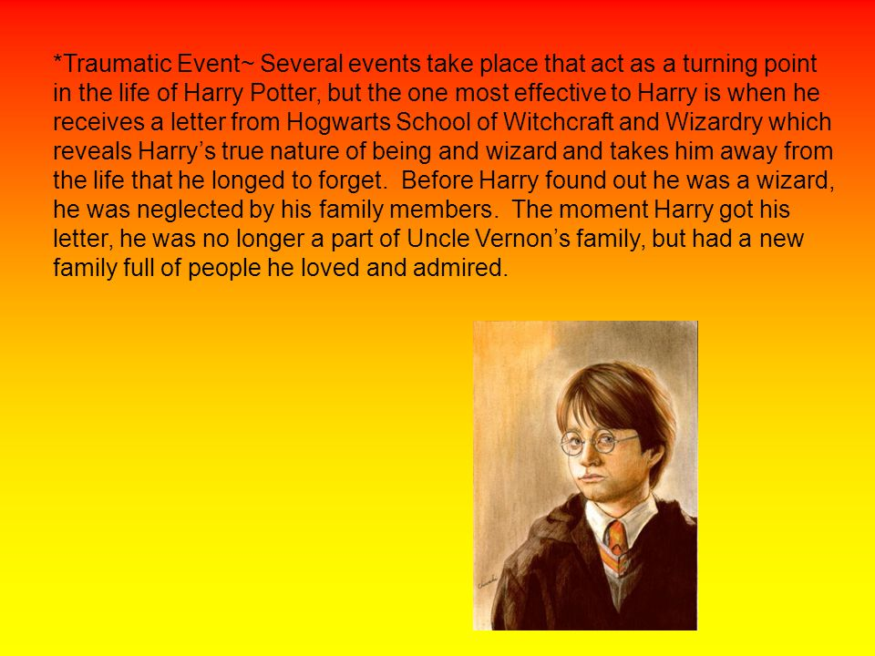 *Weapon~ Harry, when first exploring his new life as a wizard, searches for a wand at Olivander's Wand shop to see which wand suits him the best.
