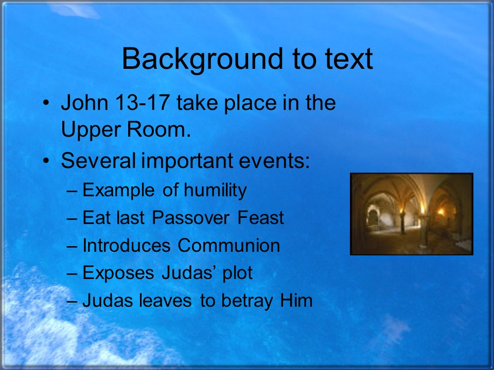 Background to text John 13-17 take place in the Upper Room.