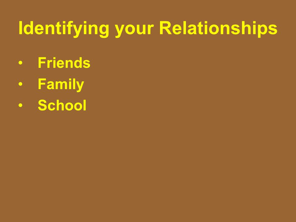Identifying your Relationships Friends Family School