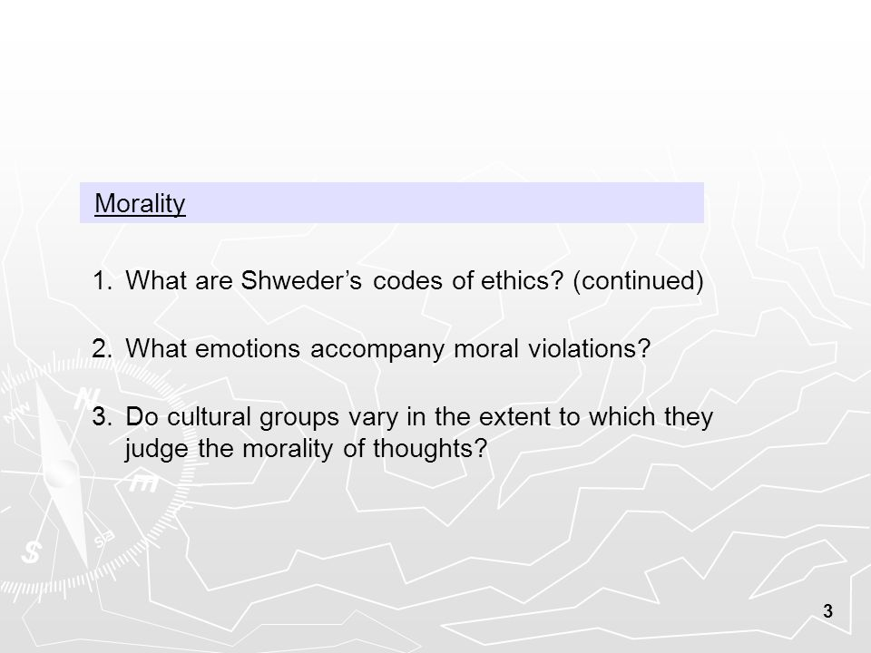 3 Morality 1.What are Shweder's codes of ethics.
