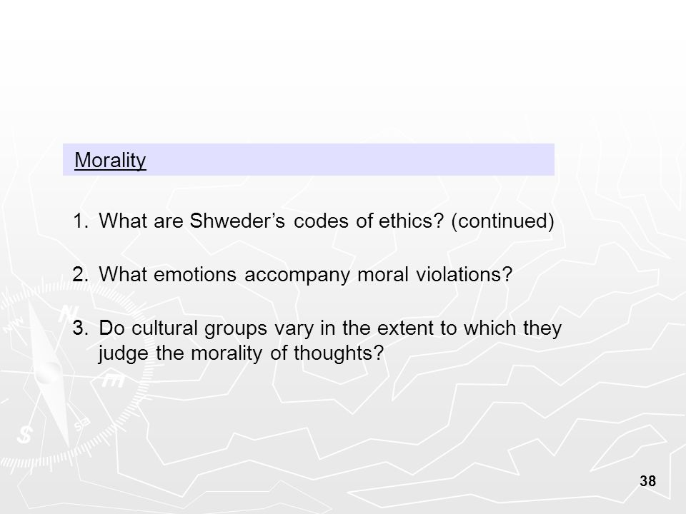 38 Morality 1.What are Shweder's codes of ethics.