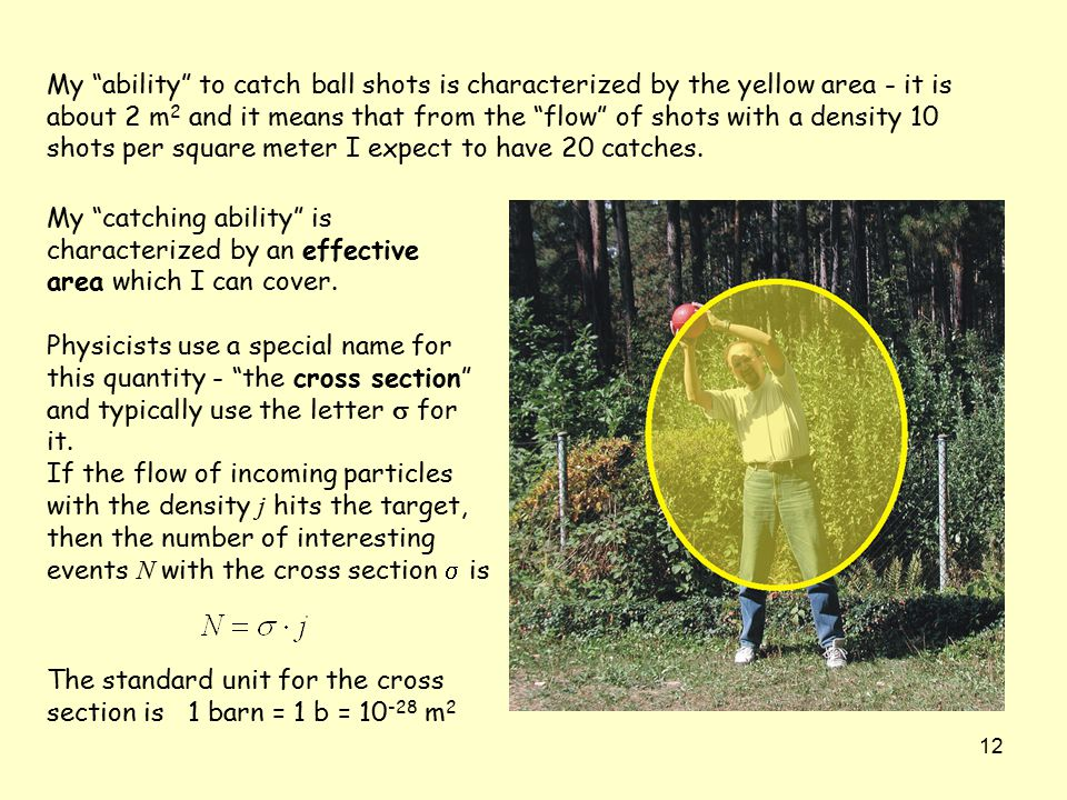 "12 My ""ability"" to catch ball shots is characterized by the yellow area - it is about 2 m 2 and it means that from the ""flow"" of shots with a density"