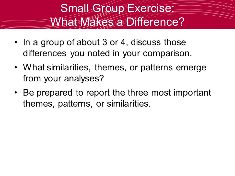 Small Group Exercise: What Makes a Difference.