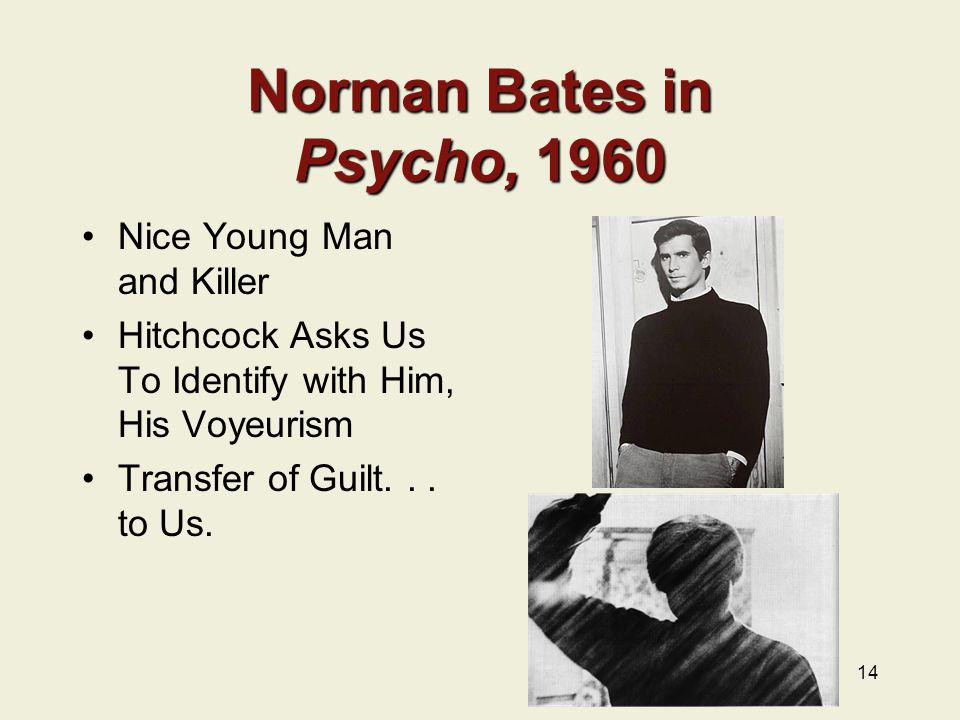 Norman Bates in Psycho, 1960 Nice Young Man and Killer Hitchcock Asks Us To Identify with Him, His Voyeurism Transfer of Guilt...
