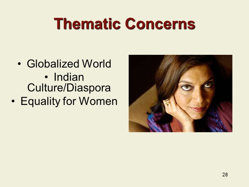 28 Thematic Concerns Globalized World Indian Culture/Diaspora Equality for Women