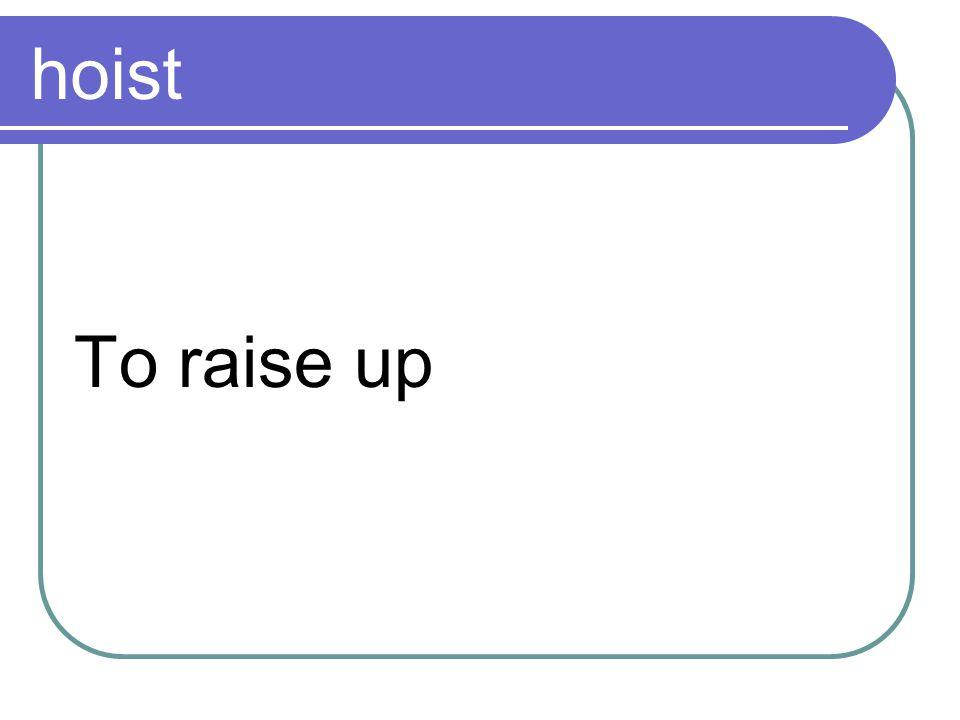 hoist To raise up