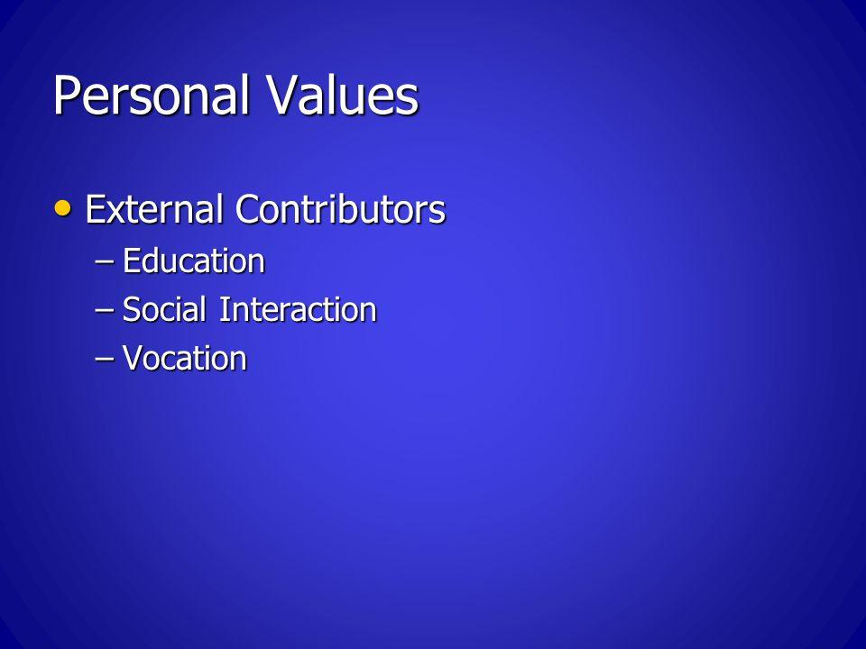 Personal Values External Contributors External Contributors –Education –Social Interaction –Vocation