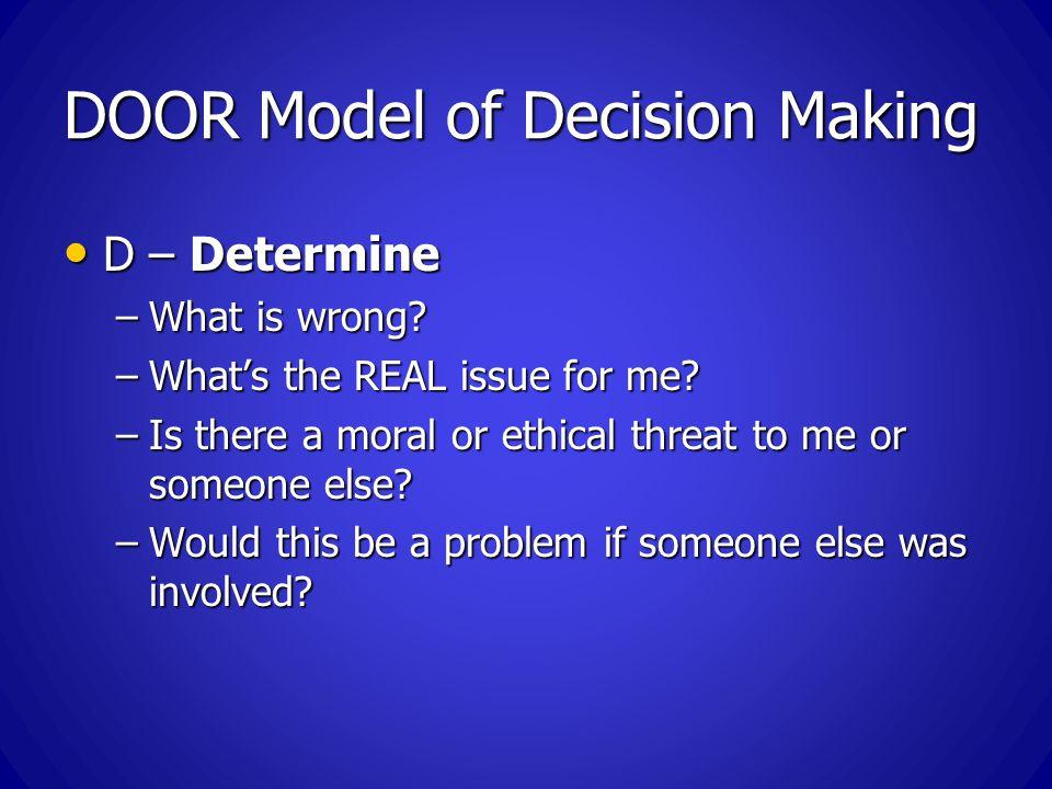 DOOR Model of Decision Making D – Determine D – Determine –What is wrong.