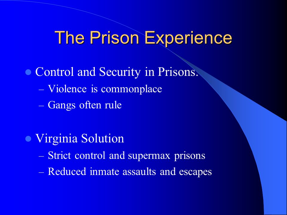 The Prison Experience Control and Security in Prisons.